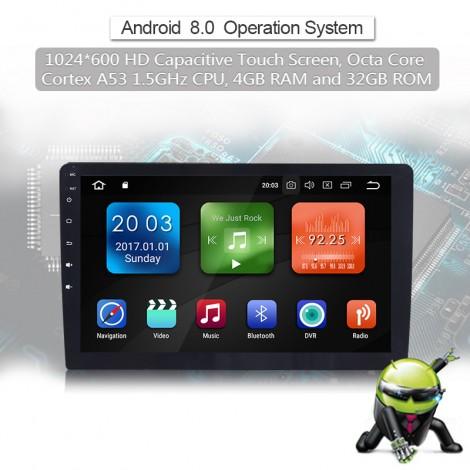 10.1'' Android 8.0 Octa-core 1.6GHz 4G RAM 32G flash Autoadio / Multimedia Player für Universal GPS Navigation Stereo Radio WIFI MP3 Bluetooth USB SWC
