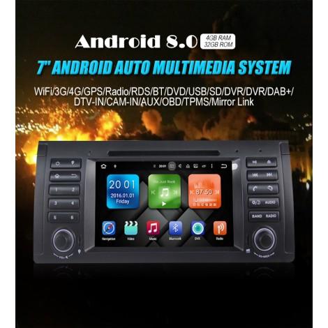 1 din Android 8.0 Octa-core 4GB RAM 32GB Car DVD Für BMW E53 E39 X5 Unterstützung TV WiFi OBD DVR