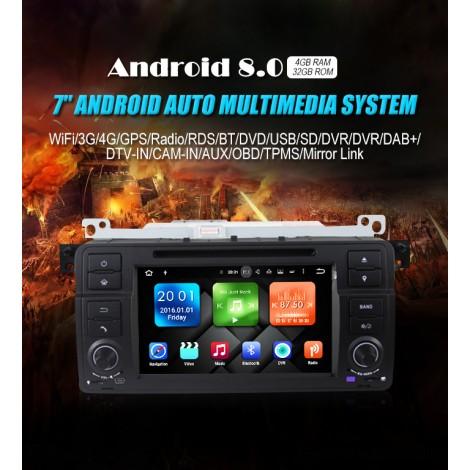 1 din Android 8.0 Octa-core 4GB RAM 32GB Car DVD Für BMW E46 M3 Rover 75 auto dvd GPS Navi Wifi 4G Radio RDS Canbus