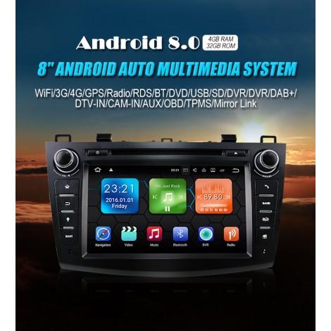 8'' Android 8.0 Octa-core 4GB+32GB 1024*600 HD Capacitive Touch Screen Autoradio Für Mazda new Mazda3