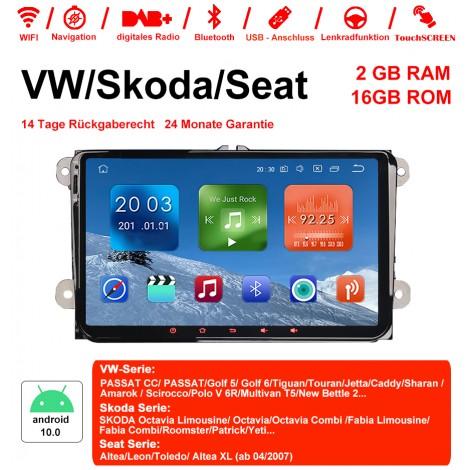 9 Zoll Android 10.0 Autoradio / Multimedia 2GB RAM 16GB ROM Für VW Magotan Passat Jetta Golf Tiguan Touran Seat Skoda