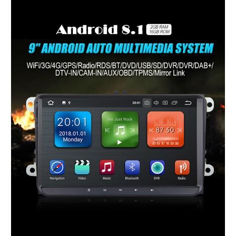 9'' Android 8.1 Octa-core 2GB RAM 16GB Flash Autoradio / Multimedia Für VW Magotan Passat Jetta Golf Tiguan Touran Seat Skoda
