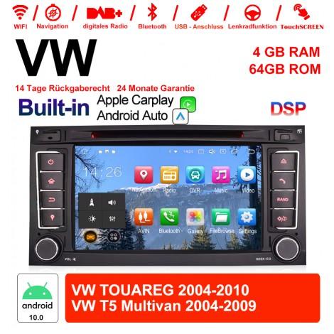 7 Zoll Android 10.0 Autoradio/Multimedia 4GB RAM 64GB ROM Für VW TOUAREG 2004-2011,VW T5 Multivan 2004-2009 mit WiFi Navi USB Built-in Carplay / Android Auto