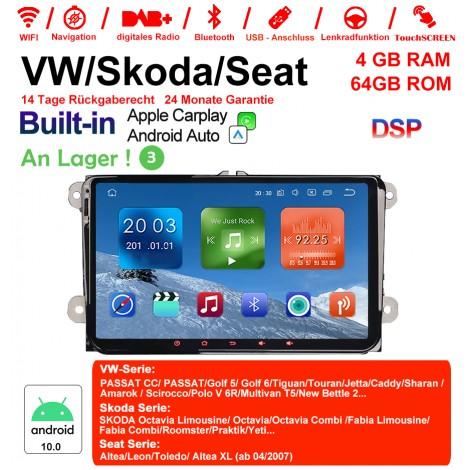 9 Zoll Android 10.0 Autoradio / Multimedia 4GB RAM 64GB ROM Für VW Magotan,Passat,Jetta,Golf,Tiguan,Touran,Seat,Skoda MIT dem verbauten DSP Built-in CarPlay / Android Auto