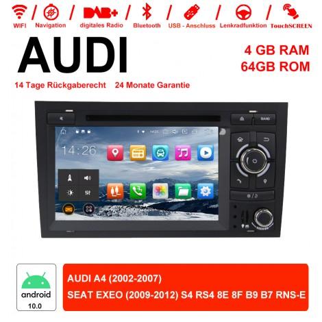 7 Zoll Android 10.0 Autoradio / Multimedia 4GB RAM 64GB ROM Für AUDI A4 SEAT EXEO S4 RS4 8E 8F B9 B7 RNS-E