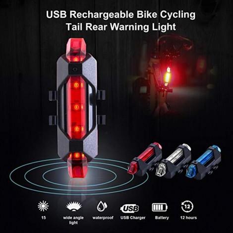 USB wiederaufladbare Fahrrad LED Rücklicht Heck Sicherheit Warnung Radfahren tragbares Licht