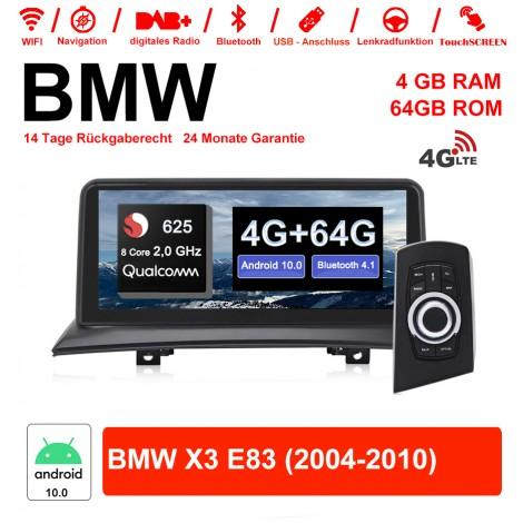 10.25 Zoll Qualcomm Snapdragon 625 (MSM8953) 8 Core A53 2.0 GHZ Android 10.0 4G LTE Autoradio / Multimedia 4GB RAM 64GB ROM Für BMW X3 E83 Mit WiFi NAVI Bluetooth USB
