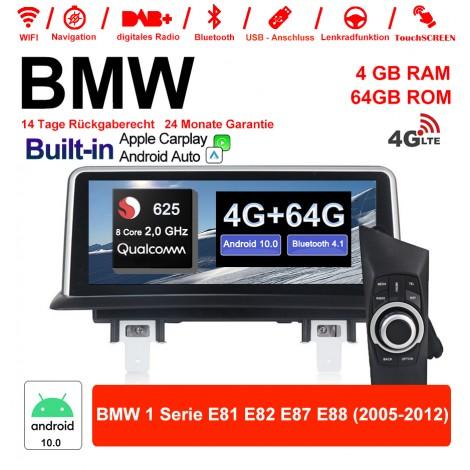 10.25 Zoll Qualcomm Snapdragon 625 (MSM8953) 8 Core A53 2.0 GHZ Android 10.0 4G LTE Autoradio / Multimedia 4GB RAM 64GB ROM Für BMW 1 Serie E81 E82 E87 E88 Built-in Carplay / Android Auto