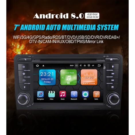 Android 8.0 Octa-core 4GB RAM 32GB ROM Autoradio / Multimedia Für AUDI A3 (2003-2011) S3 RS3 RNSE-PU