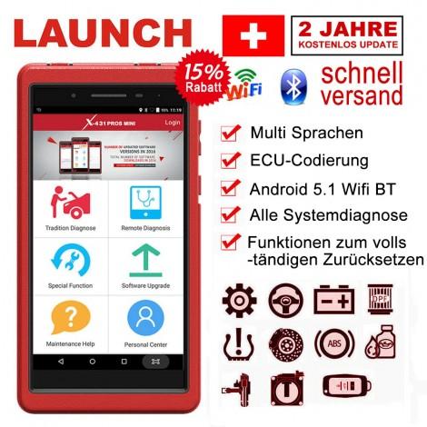 Launch X431 Pros Mini Diagnosewerkzeuge Universal KFZ Andriod OBDII Auto Fehlercode Scanner Tool mit Sonderfunktionen, unterstüzt Wifi Bluetooth, DPF Regeneration unterstützt Deutsch Auto Diagnosegerät