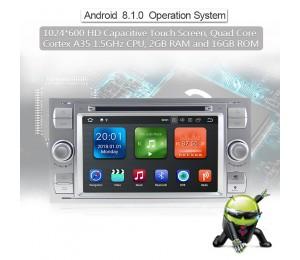 2 Din Android 8.1 Quad-core 2GB RAM 16GB flash AutoRadio für Ford Transit(2004-2008) Farbe Silber