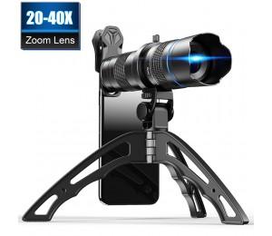 APEXEL HD 20x-40x zoom teleskop teleobjektiv monokulare mobile objektiv + selfie stativ für Samsung iPhone alle Smartphones
