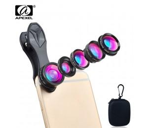 APEXEL 5 in 1 kamera objektiv Kit universal Fisheye weitwinkel makro Objektiv 2x teleskop und CPL für iPhone 5 S 6 6 S Xiaomi