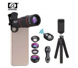 APEXEL Telefon Objektiv Kit Fisheye Weitwinkel makro 18X teleskop Objektiv tele mit 3 in 1 objektiv für Samsung Huawei alle smartphones