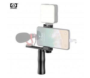 APEXEL APL-VG01 Smartphone Video Rig Filmemacher Grip Griff mit Telefon Halter Kalten Schuh Verlängerung Halterung Handgelenk Gurt für Vlog