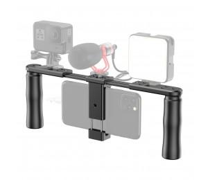 APEXEL APL-VG02 Dual-Grip Smartphone Video Rig Handheld Filmausrüstung Halterung mit Telefon Halter Kalten Schuh Halterungen für Vlog Live