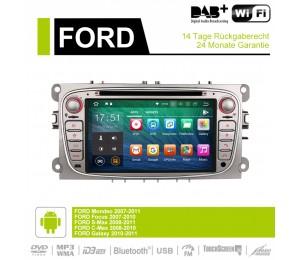 7 Zoll Android 9.0 Autoradio / Multimedia 4GB RAM 32GB ROM Für Ford Focus II Mondeo S-Max Farbe Silber