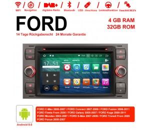 7 Zoll Android 9.0  Autoradio / Multimedia 4GB RAM 32GB ROM  Für  FORD Focus Fiesta Focus Fusion C/S-Max Transit Mondeo Farbe Grau