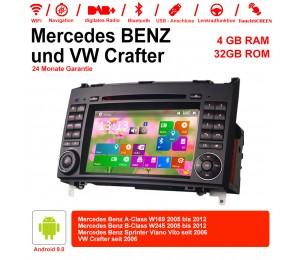 7 Zoll Android 9.0  Autoradio / Multimedia 4GB RAM 32GB ROM Für Mercedes BENZ A Klasse W169, B Klasse W245, Sprinter Viano Vito und VW Crafter