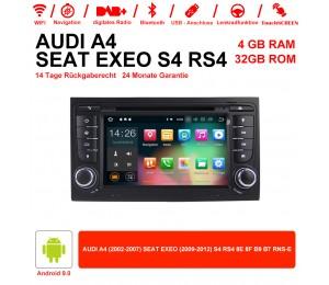 7 Zoll Android 9.0 Autoradio 4GB RAM 32GB ROM Für Audi A4/S4 GPS Navi WIFI USB BT