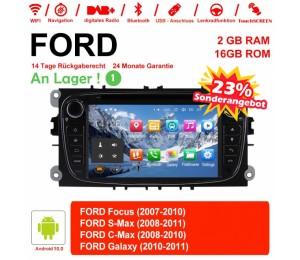 Android 10.0 Quad-core 2GB RAM 16GB flash AutoRadio für Ford Focus(2009-2010) Schwarz