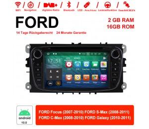 2 Din Android 10.0 Quad-core 2GB RAM 16GB  flash AutoRadio für Ford Focus(2009-2010) Schwarz