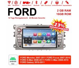 2 Din Android 10.0 Quad-core 2GB RAM 16GB flash AutoRadio für Ford Focus(2009-2010) Farbe Silber
