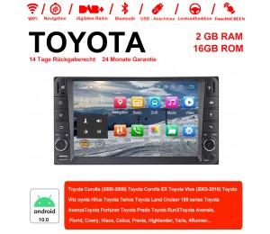 7 Zoll Android 10.0 Autoradio / Multimedia 2GB RAM 16GB ROM Für Toyota Corolla Vios Land Cruiser Avanza Prado