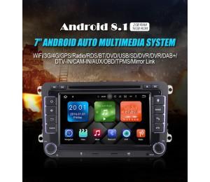 2 din Android 8.1 Quad-Core 2GB RAM 16GB Autoradio / Multimedia für VW Skoda POLO GOLF 5 6 PASSAT B6 CC JETTA TIGUAN TOURAN Fabia Caddy