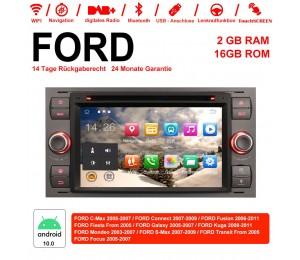 7 Zoll Android 10.0 Autoradio / Multimedia 2GB RAM 16GB ROM Für Ford Focus Fiesta Focus Fusion C/S-Max Transit Mondeo Farbe Grau