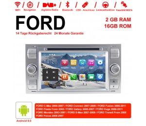 7 Zoll Android 9.0 Autoradio / Multimedia 2GB RAM 16GB ROM Für Ford Focus Fiesta Focus Fusion C/S-Max Transit Mondeo Farbe Silber
