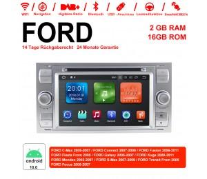 7 Zoll Android 10.0 Autoradio / Multimedia 2GB RAM 16GB ROM Für Ford Focus Fiesta Focus Fusion C/S-Max Transit Mondeo Farbe Silber