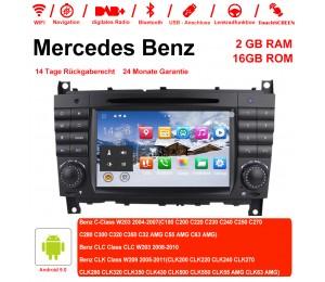 7 Zoll Android 9.0 Autoradio / Multimedia 2GB RAM 16GB ROM Für Benz C-klasse W203 2004-2007 Clk W209 2005 A-w168 1998 2002 Clk-c209