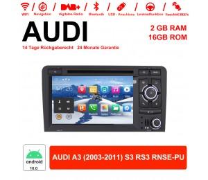 7 Zoll Android 10.0 Autoradio/Multimedia 2GB RAM 16GB ROM Für AUDI A3 (2003-2011) S3 RS3 RNSE-PU