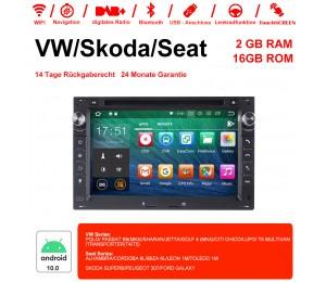 7 Zoll Android 10.0 Autoradio/Multimedia 2GB RAM 16GB ROM Für VW Glof Bora Passat Mk5 Golf Polo Jetta Seat Peugeot 307