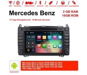 8 Zoll Android 9.0 Autoradio/Multimedia 2GB RAM 16GB ROM Für Mercedes BENZ A Klasse W169, B Klasse W245, Sprinter Viano Vito und VW Crafter