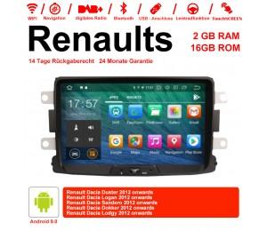 8 Zoll Android 9.0 Autoradio/Multimedia 2GB RAM 16GB ROM Für Renaults Dacia Duster,Logan,Sandero,Dokker,Lodgy