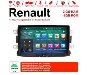 8 Zoll Android 10.0 Autoradio/Multimedia 2GB RAM 16GB ROM Für Renault Dacia Duster,Logan,Sandero,Dokker,Lodgy