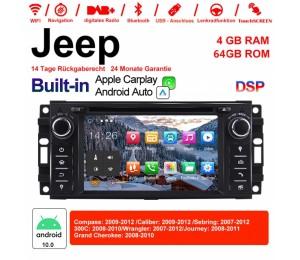 6.2 Zoll Android 10.0 Autoradio / Multimedia 4GB RAM 64GB ROM Für Jeep Wrangler Compass Caliber Sebring Journey Built-in Carplay / Android Auto