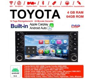 6.2 Zoll Android 10.0 Autoradio / Multimedia 4GB RAM 64GB ROM Für Toyota Corolla EX RAV4 Vios Vitz Terios Prado Built-in Carplay / Android Auto