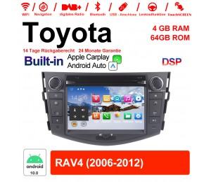 7 Zoll Android 10.0 Autoradio / Multimedia 4GB RAM 64GB ROM Für Toyota RAV4 Mit WiFi NAVI Bluetooth USB Built-in Carplay / Android Auto