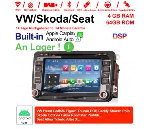 2 Din Android 10.0 Octa-Core 4GB RAM 64GB Autoradio / Multimedia Für VW GOLF JETTA POLO TOURAM PASSAT B6 mit GPS stereo radio usb WIFI Built-in CarPlay / Android Auto