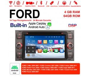 7 Zoll Android 10.0  Autoradio / Multimedia 4GB RAM 64GB ROM  Für  FORD Focus Fiesta Focus Fusion C/S-Max Transit Mondeo Farbe Grau Built-in Carplay / Android Auto