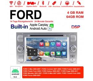 7 Zoll Android 10.0  Autoradio / Multimedia 4GB RAM 64GB ROM  Für FORD Focus Fiesta Focus Fusion C/S-Max Transit Mondeo Farbe Silber Built-in Carplay / Android Auto