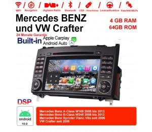 7 Zoll Android 10.0  Autoradio / Multimedia 4GB RAM 64GB ROM Für Mercedes BENZ A Klasse W169, B Klasse W245, Sprinter Viano Vito und VW Crafter Built-in Carplay / Android Auto