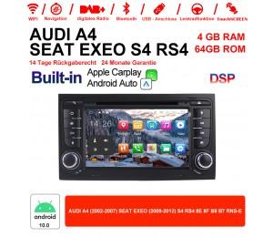 7 Zoll Android 10.0 Autoradio 4GB RAM 64GB ROM Für Audi A4/S4 GPS Navi WIFI USB BT Built-in Carplay / Android Auto