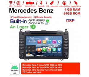 8 Zoll Android 10.0 Autoradio / Multimedia 4GB RAM 64GB ROM Für Mercedes BENZ A Klasse W169, B Klasse W245, Sprinter Viano Vito und VW Crafter