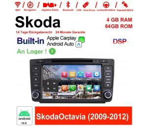 8 Zoll Android 10.0 Autoradio / Multimedia 4GB RAM 64GB ROM Für Skoda Octavia(2009-2012) mit Navi, Wifi, Bluetooth, USB,Built-in CarPlay / Android Auto
