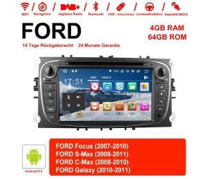 7 Zoll Android 9.0 Autoradio / Multimedia 4GB RAM 64GB ROM Für Ford Focus II Mondeo S-Max MIT dem verbauten DSP ( Digital Sound Prozessor ) und Bluetooth 5.0