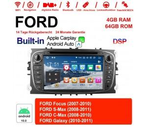 7 Zoll Android 10.0 Autoradio / Multimedia 4GB RAM 64GB ROM Für Ford Focus II Mondeo S-Max MIT dem verbauten DSP ( Digital Sound Prozessor )  und Bluetooth 5.0 Built-in Carplay / Android Auto